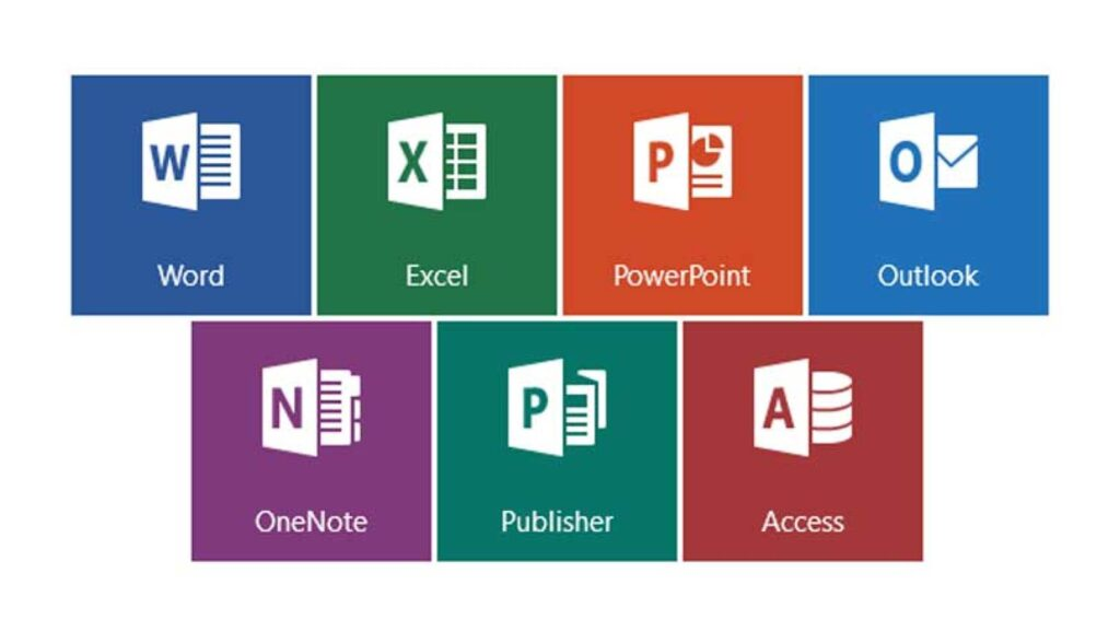 The logos of the Microsoft Office applications.
