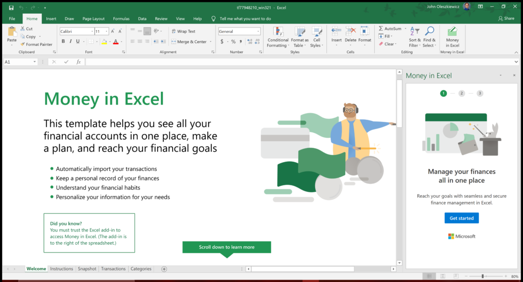 Money In Excel template file